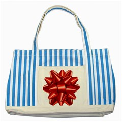 Red Bow Striped Blue Tote Bag