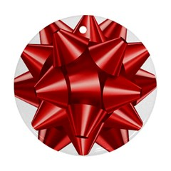 Red Bow Round Ornament (two Sides) by BangZart