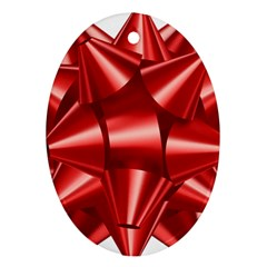 Red Bow Oval Ornament (two Sides)
