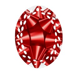 Red Bow Oval Filigree Ornament (two Sides)