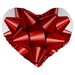 Red Bow Large 19  Premium Heart Shape Cushions by BangZart