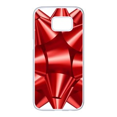 Red Bow Samsung Galaxy S7 Edge White Seamless Case