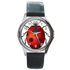 Ladybug Insects Round Metal Watch