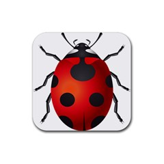Ladybug Insects Rubber Coaster (square)