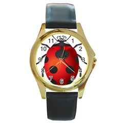 Ladybug Insects Round Gold Metal Watch