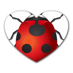 Ladybug Insects Heart Mousepads by BangZart
