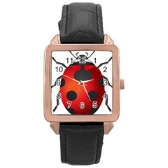 Ladybug Insects Rose Gold Leather Watch  by BangZart
