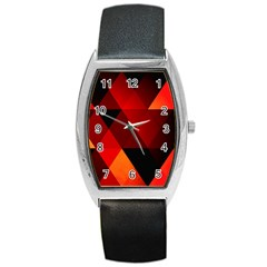 Abstract Triangle Wallpaper Barrel Style Metal Watch