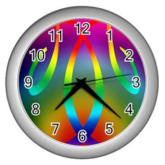 Colorful Easter Egg Wall Clocks (silver)  by BangZart