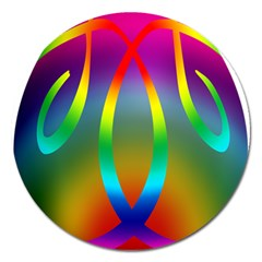 Colorful Easter Egg Magnet 5  (round)