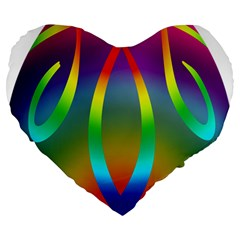 Colorful Easter Egg Large 19  Premium Flano Heart Shape Cushions by BangZart