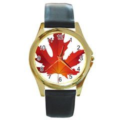 Autumn Maple Leaf Clip Art Round Gold Metal Watch by BangZart