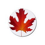 Autumn Maple Leaf Clip Art Rubber Coaster (Round)  Front
