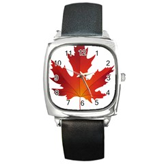Autumn Maple Leaf Clip Art Square Metal Watch by BangZart