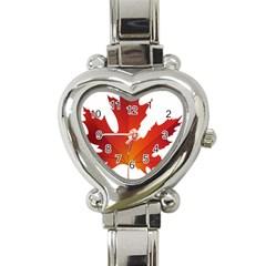 Autumn Maple Leaf Clip Art Heart Italian Charm Watch by BangZart