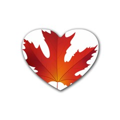 Autumn Maple Leaf Clip Art Heart Coaster (4 Pack)  by BangZart