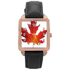 Autumn Maple Leaf Clip Art Rose Gold Leather Watch  by BangZart