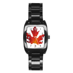 Autumn Maple Leaf Clip Art Stainless Steel Barrel Watch