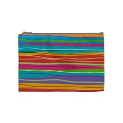 Colorful Horizontal Lines Background Cosmetic Bag (medium)