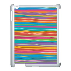 Colorful Horizontal Lines Background Apple Ipad 3/4 Case (white) by TastefulDesigns