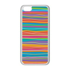 Colorful Horizontal Lines Background Apple Iphone 5c Seamless Case (white) by TastefulDesigns