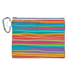 Colorful Horizontal Lines Background Canvas Cosmetic Bag (l) by TastefulDesigns