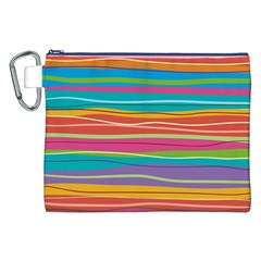 Colorful Horizontal Lines Background Canvas Cosmetic Bag (xxl) by TastefulDesigns