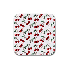 Cherry Red Rubber Square Coaster (4 Pack)  by Kathrinlegg