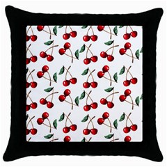 Cherry Red Throw Pillow Case (black) by Kathrinlegg