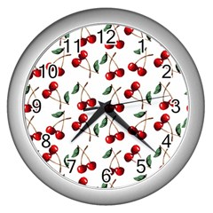 Cherry Red Wall Clocks (silver)  by Kathrinlegg