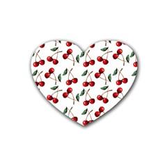 Cherry Red Rubber Coaster (heart)  by Kathrinlegg