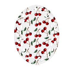 Cherry Red Oval Filigree Ornament (two Sides) by Kathrinlegg