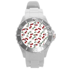 Cherry Red Round Plastic Sport Watch (l) by Kathrinlegg