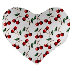 Cherry Red Large 19  Premium Flano Heart Shape Cushions by Kathrinlegg