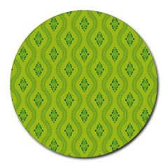 Decorative Green Pattern Background  Round Mousepads by TastefulDesigns