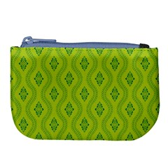 Decorative Green Pattern Background  Large Coin Purse by TastefulDesigns