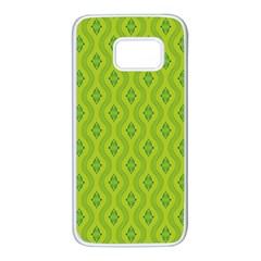 Decorative Green Pattern Background  Samsung Galaxy S7 White Seamless Case by TastefulDesigns
