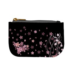 Black Pink Flowers Mini Coin Purse by PattyVilleDesigns