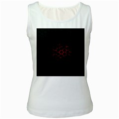 Abstract Pattern Honeycomb Women s White Tank Top