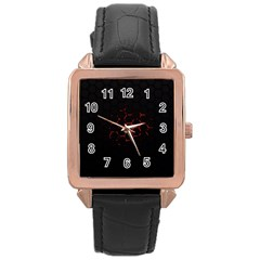 Abstract Pattern Honeycomb Rose Gold Leather Watch
