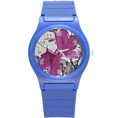 Vintage Style Flower Photo Round Plastic Sport Watch (s) by dflcprints