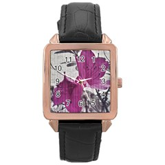 Vintage Style Flower Photo Rose Gold Leather Watch  by dflcprints