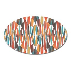 Colorful Geometric Abstract Oval Magnet