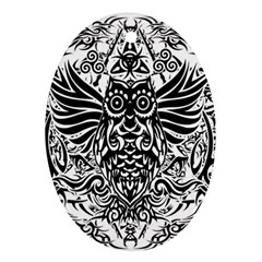 Tattoo Tribal Owl Ornament (oval) by Valentinaart