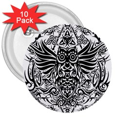 Tattoo Tribal Owl 3  Buttons (10 Pack)  by Valentinaart