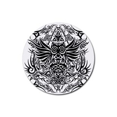 Tattoo Tribal Owl Rubber Round Coaster (4 Pack)  by Valentinaart