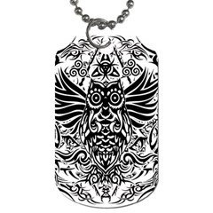 Tattoo Tribal Owl Dog Tag (two Sides) by Valentinaart