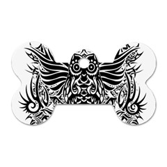Tattoo Tribal Owl Dog Tag Bone (one Side) by Valentinaart