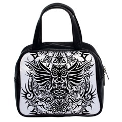 Tattoo Tribal Owl Classic Handbags (2 Sides) by Valentinaart
