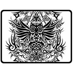 Tattoo Tribal Owl Fleece Blanket (large)  by Valentinaart